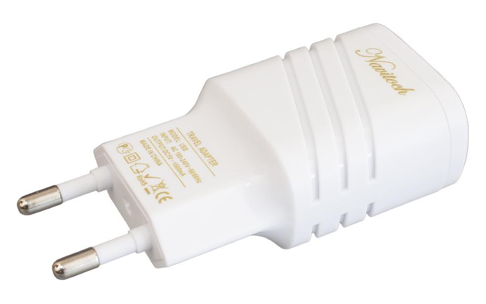 Зарядное устройство Navitoch USB 1A, 3684, белый сетевое зарядное устройство belkin f8j052cwwht 2 1a usb белый