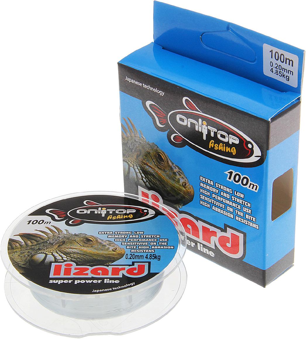 Леска Onlitop Lizard, 132345, серый, 0,2 мм, 100 м, 4,85 кг леска balsax tarantula gold 100 м 0 32 мм 13 0 кг