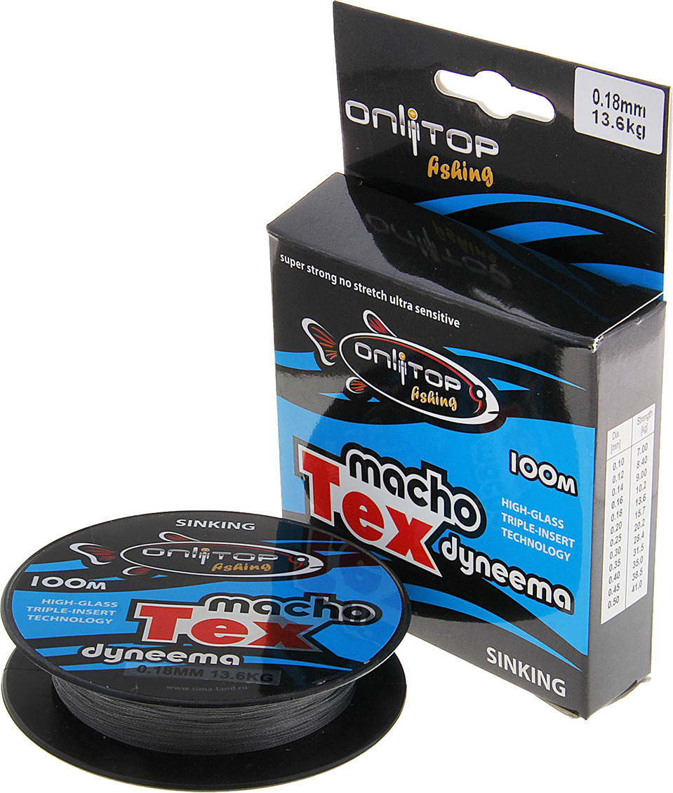 Плетеный шнур Onlitop Macho Tex, 132389, темно-серый, 0.18 мм, 100 м, 13.6 кг