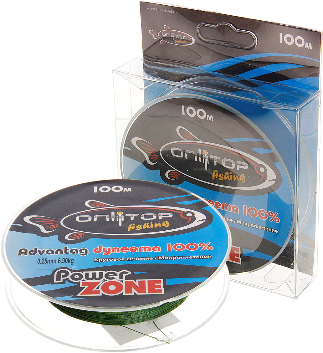 Плетеный шнур Onlitop Power Zone, 132398, зеленый, 0,25 мм, 100 м, 20,2 кг