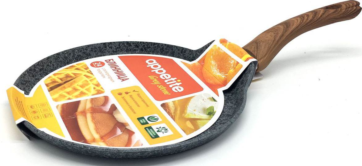 """Сковорода блинная Appetite """"Grey Stone"""", с антипригарным покрытием. Диаметр 24 см"""