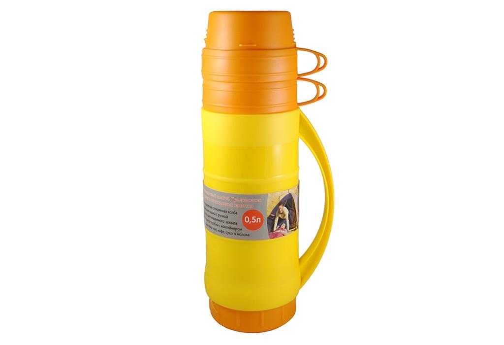 Термос Kukina Raffinata 2 чашки, 100901-1, желтый100901-1Пластиковый термос объемом 1,8 л. со стеклянной колбой - превосходно держит тепло или холод, по желанию! Изготовлен по той же схеме, что и традиционные металлические термосы, но заметно легче их.Термос со стеклянной колбой предназначен как для холодных, так и для горячих напитков. В термос можно наливать не только воду, чай или кофе, но и соки, а также молочные напитки.В комплекте имеется одна кружка с ручкой, что делает более комфортным употребление напитков.