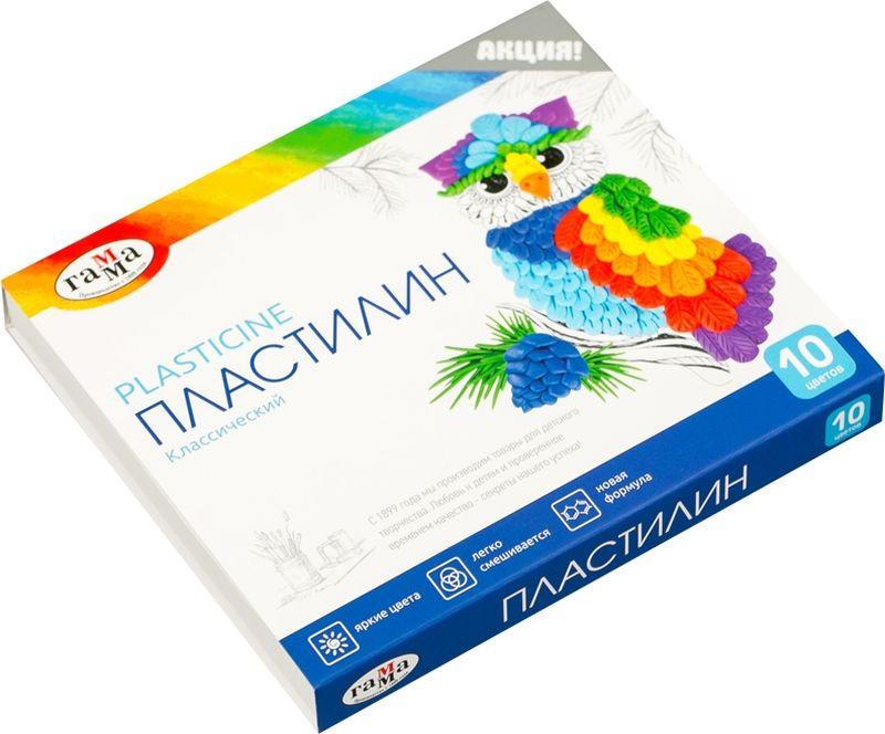 Пластилин Гамма Классический, 281032, 10 цветов, 200 г набор для лепки гамма пластилин классический 12 цветов 240g 281033