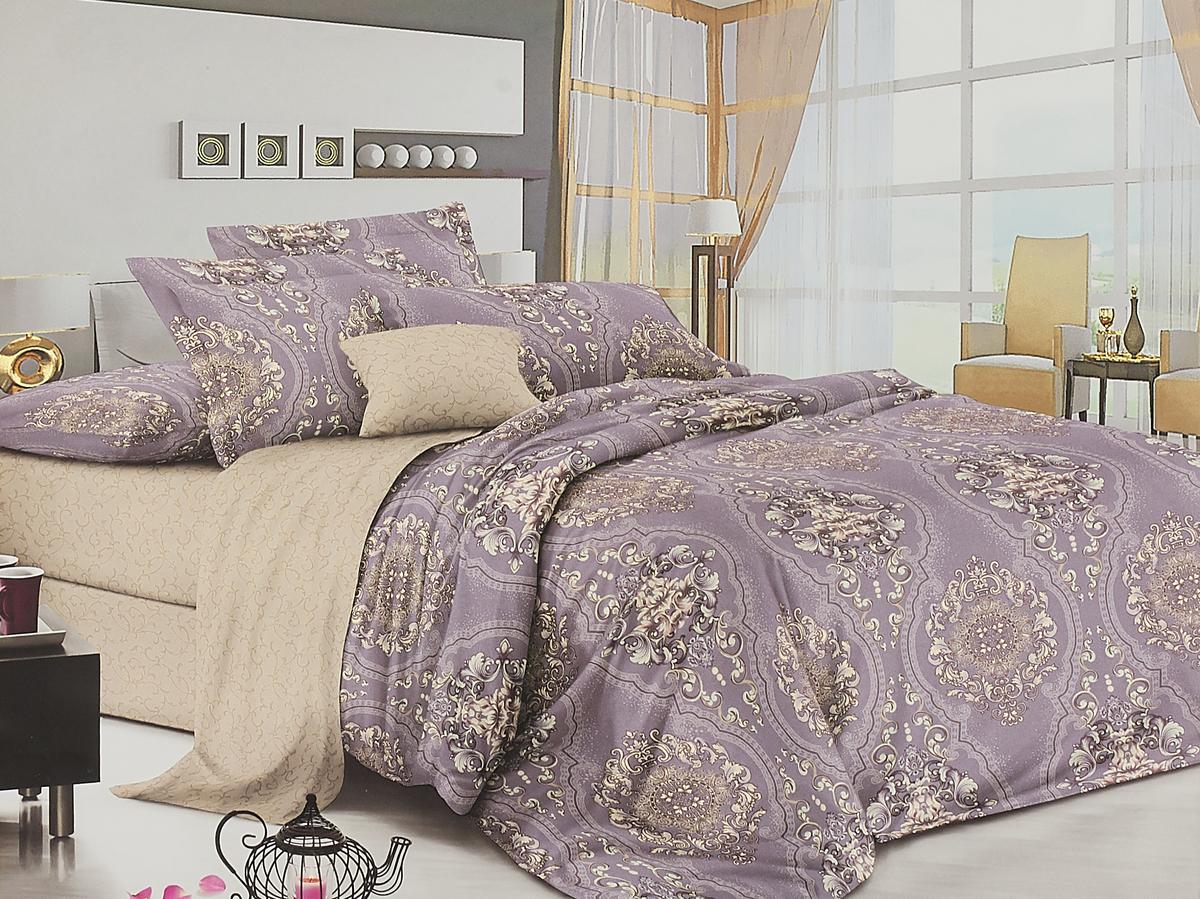 Комплект белья Amore Mio Gold Violetta, 7566, бежевый, фиолетовый, 2-спальный, наволочки 70x70 комплект белья amore mio gold violetta 7577 бежевый фиолетовый евро наволочки 70x70
