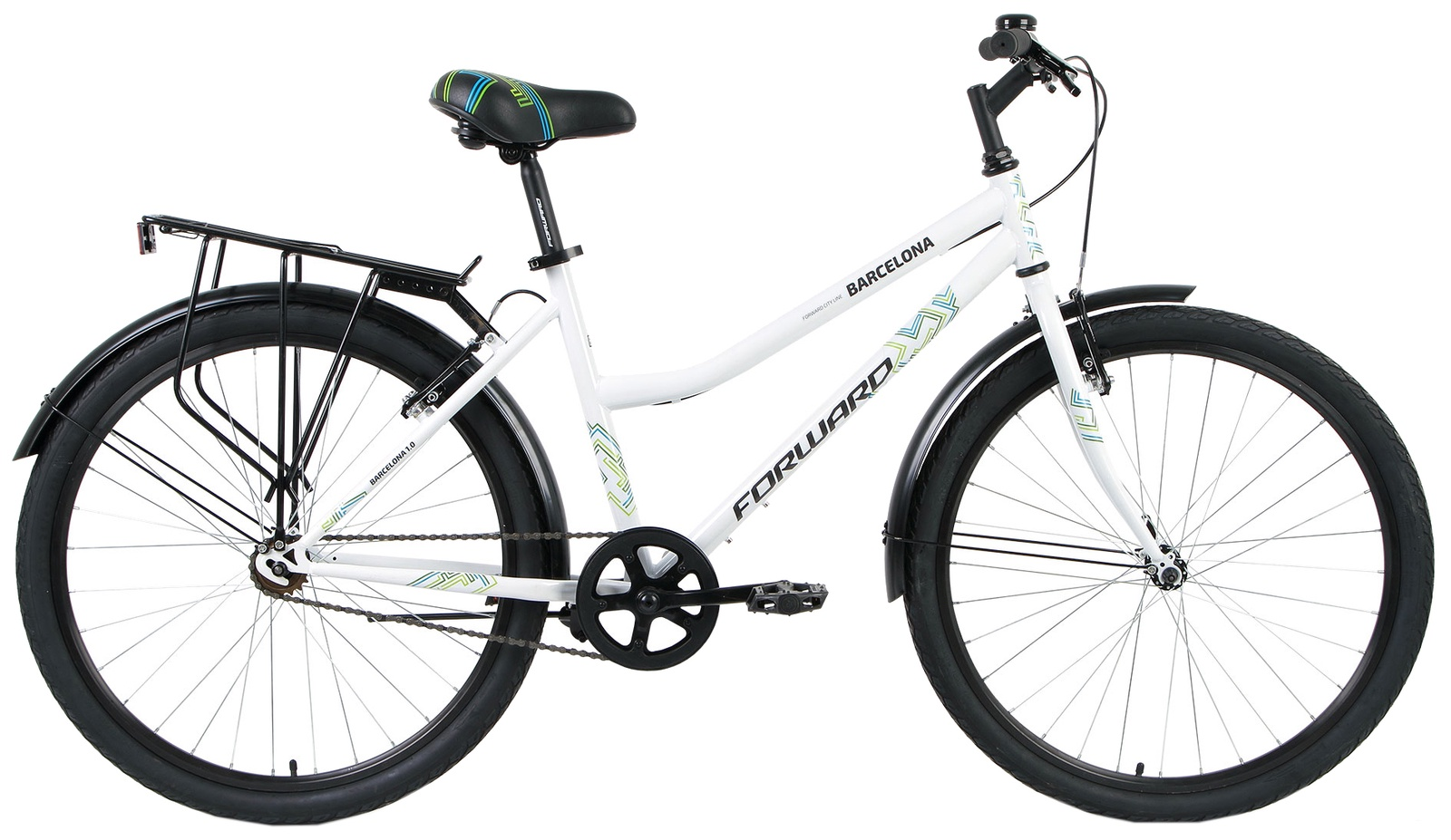 Женский велосипед Forward BARCELONA 1.0 2018, RBKW8UN61003, белый велосипед forward barcelona 1 0 2017 1 скорость рама 17 синий