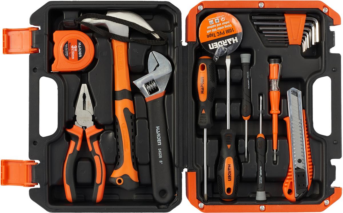 Набор инструментов Harden, 511018, слесарно-монтажный, универсальный, 18 предметов ключ разводной harden 540532 304 мм