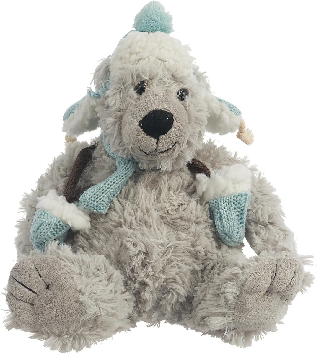 Игрушка новогодняя мягкая Mister Christmas Медвежонок, WD-DG-B2, светло-серый, голубой, высота 20 см игрушка новогодняя mister christmas игрушка новогодняя