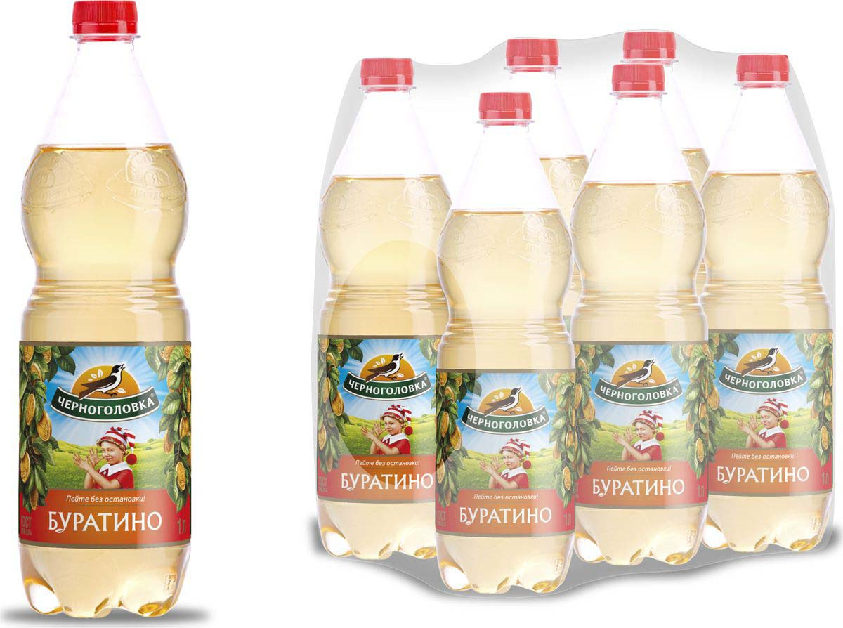 Лимонад Напитки из Черноголовки Буратино, 6 шт по 1 л лимонад напитки из черноголовки дюшес 6 шт по 1 5 л