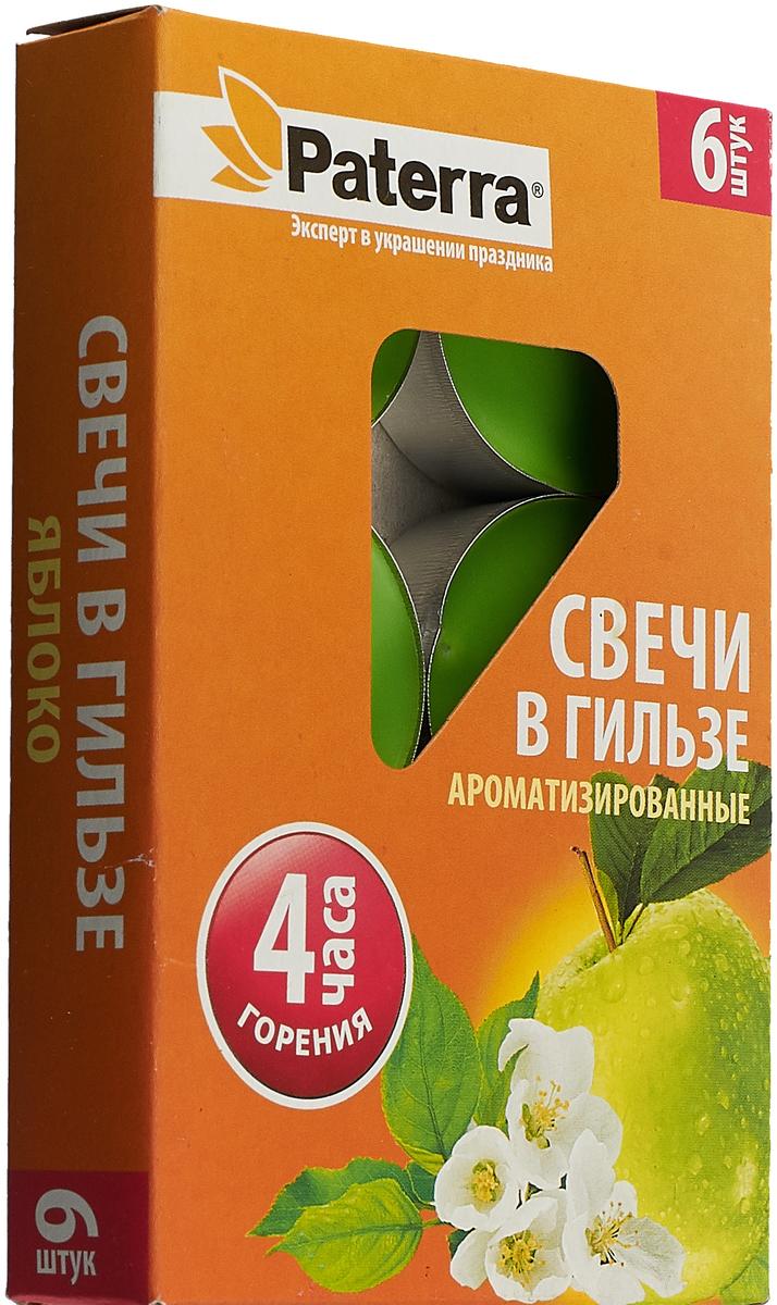Набор свечей Paterra Зеленое яблоко, ароматизированные, диаметр 3,9 см, 6 шт гифтман набор свечей фиалка ароматизированные столбики 4 6см 2 шт время горения 6 ч