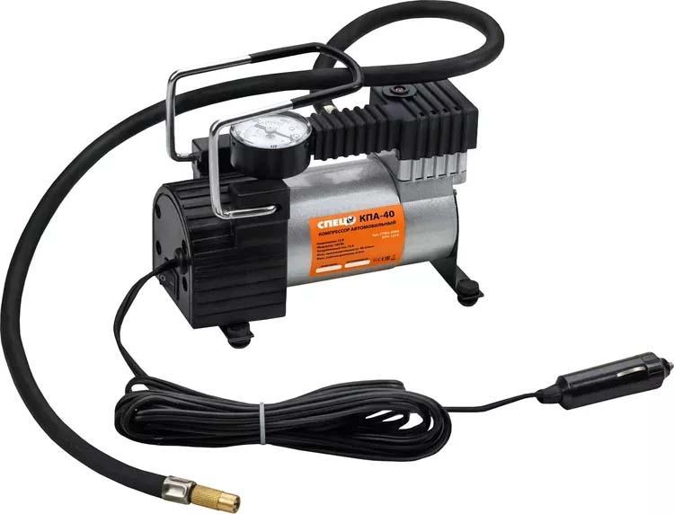 Автомобильный компрессор Спец КПА-40, поршневой компрессор автомобильный ставр ка 12 7 12 0в 7атм 35л мин 3 насадки шланг 1м сумка