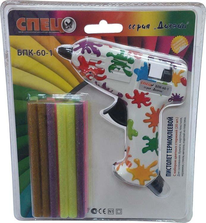 Клеевой пистолет Спец БПК-60, разноцветный пистолет клеевой dremel 910 для стержней 7 мм