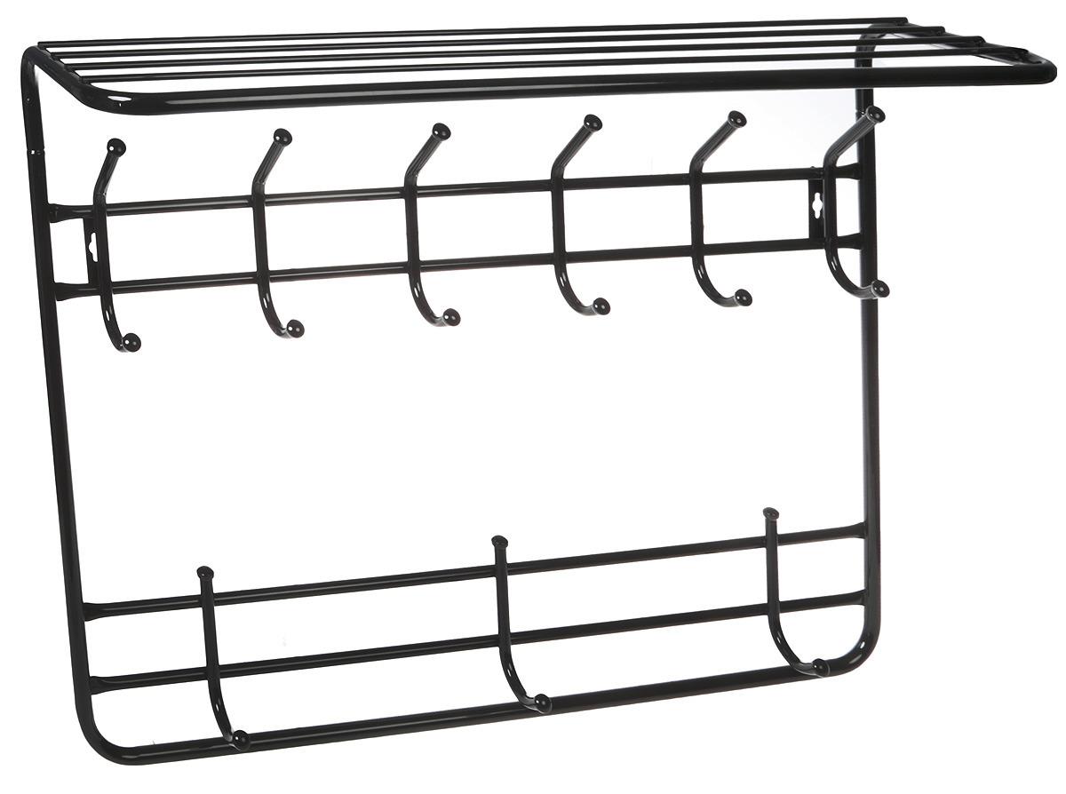 Вешалка настенная ЗМИ, 2-х ярусная, с полкой, черный, 80 см зонты