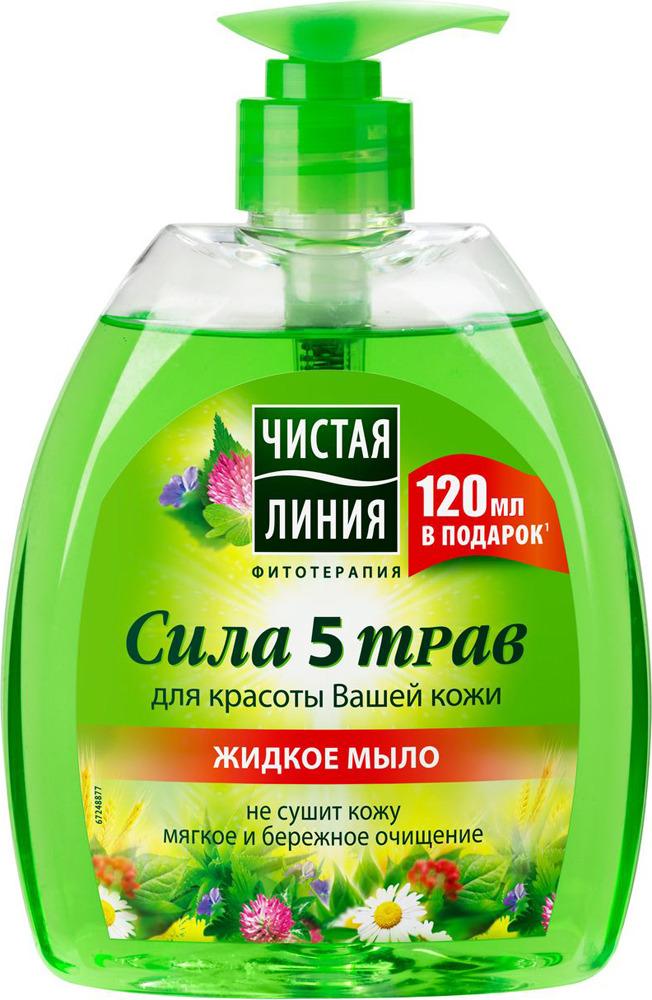 Чистая Линия Фитотерапия Жидкое крем-мыло Сила 5 трав, 520 мл