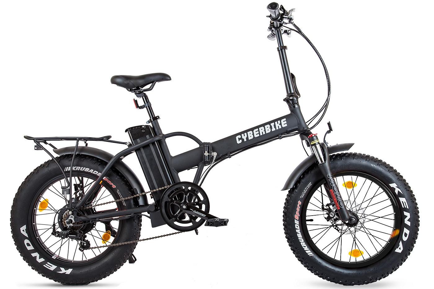 """Электровелосипед Cyberbike Fat 500W019282Складной руль с множеством регулировок, складная рама и педали, ручка для переноски - не смотря на брутальный и дерзкий внешний вид, практичность в конструкции этого велогибрида действительно возведена в культ.7 скоростная система переключения скоростей SHIMANO TOURNEY позволит комфортно использовать велогибрид в режиме велосипеда, а за его остановку отвечают дисковые тормоза от компании TECTRO.И, конечно, нельзя не сказать о главной особенности Cyberbike Fat 500W – передней амортизационной вилке с регулировкой жесткости. Все дорожная резина и полноразмерные алюминиевые крылья добавят проходимости на дорогах и комфорта для райдера. На легко съемный, но крепкий багажник можно установить сумки огромных размеров, поставить детское сидение или закрепить груз.Мощность двигателя 500WТип передачи цепнаяТип рамы складнаяАккумулятор 36V 13AH SAMSUNG lithium batteryМаксимальная скорость 30 км/чПробег 45-60 кмВес нетто 28 кгРазмер колеса 20"""" x4.0Нагрузка 110 кг.Привод заднийПодвеска передняя с амортизацией- Мощный мотор Bafang 500W- Ёмкий аккумулятор напряжением 36V и ёмкостью 13 Ампер-часов- Складная прочная рама- Толстые проходимые колёса 20""""- Богатая палитра расцветок - на любой вкус!"""