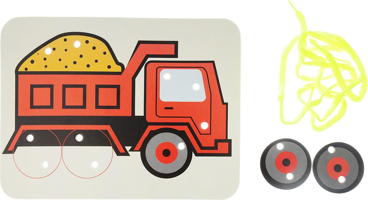 Ракета Шнуровка-раскраска Самосвал с песком и 2 колеса апплика игра шнуровка самосвал