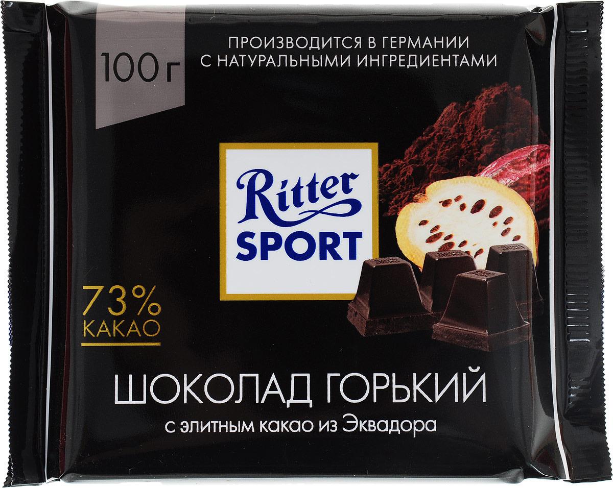 Ritter Sport Шоколад горький Элитный 73% какао, 100 г4000417260000Элитный горький шоколад.Состоит на 73% из какао. Секрет этого продукта заключается в количестве шоколадных долек: целых 36 долек еще лучше раскрывают мягкий вкус элитного какао Арриба из Эквадора с едва уловимой горчинкой. Пищевая ценность на 100 г: белки - 9 г, углеводы - 25 г, жиры - 49 г, в том числе насыщенные жирные кислоты - 29,31 г, в том числе трансизомеры ненасыщенных жирных кислот - 0,15 г.