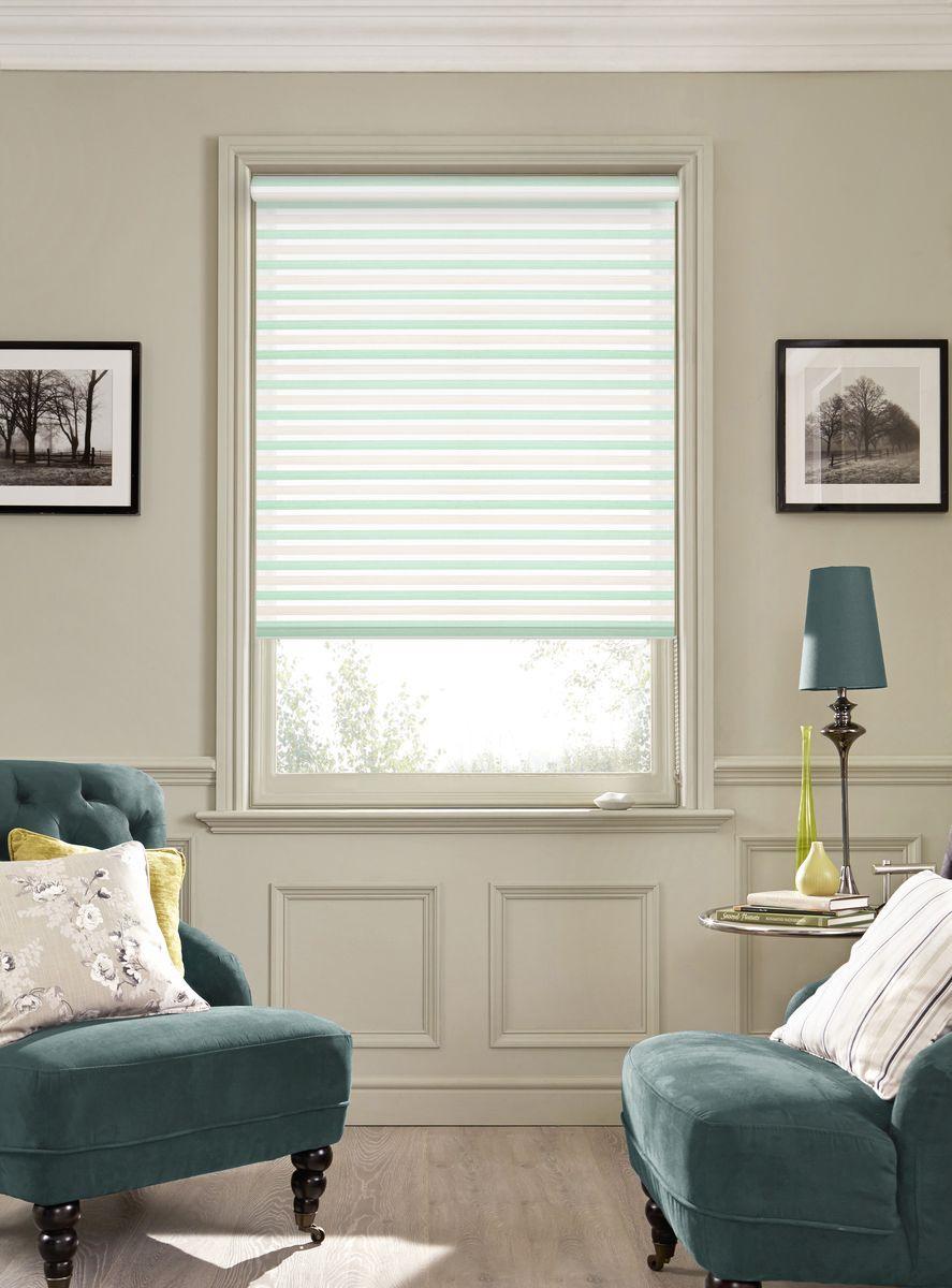 Рулонная штора Garden Strip, 2526050/8, бирюзовый, белый, 170 х 50 см белый день белый день mp3