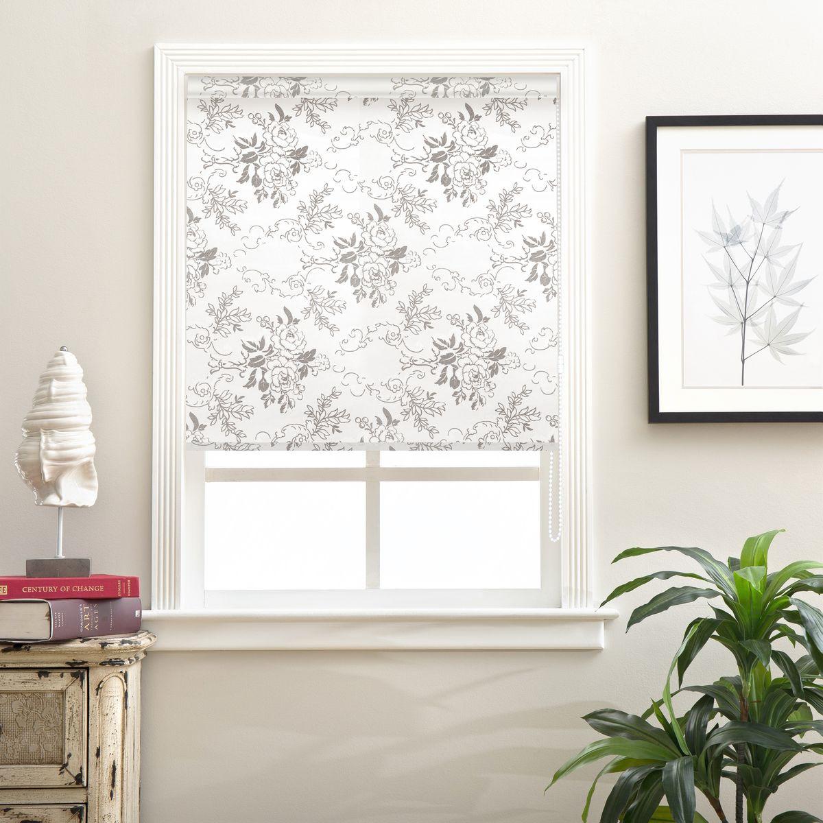 Рулонная штора Garden, 2509100/01, белый, серый, 170 х 100 см штора рулонная сити 60х175 см цвет серый