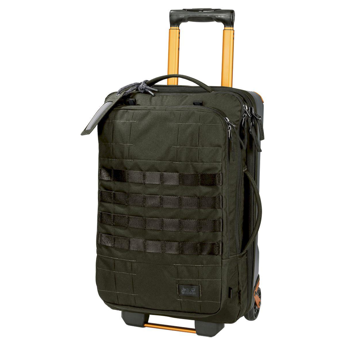 Чемодан Jack Wolfskin Trt Rail 40, 2007031-5043, оливковый2007031-5043Если ваша командировка плавно перетекает в небольшой отпуск, эта сумка — все, что вам нужно взять с собой. TRT RAIL 40 (ТиАрТи РЕЙЛ 40) подарит вам максимум возможностей, поскольку она сочетает в себе преимущества рюкзака и сумки на колесиках. В аэропорту вы можете спокойно катить сумку через терминал, после чего пристегнуть к ней лямки и бежать на автобус. TRT RAIL 40 (ТиАрТи РЕЙЛ 40) оснащена множеством практичных карманов и отделений, помогающих аккуратно разместить все ваши вещи. Эластичный ремень в основном отделении удерживает содержимое сумки на месте, пока вы спешите к следующему пункту назначения. TRT (ТиАрТи) — прочный, выносливый, технологичный — эксклюзивная серия дорожных сумок и рюкзаков для технарей, предпочитающих вещи, сделанные на совесть. По размеру сумка отвечает требованиям к ручной клади и спереди оснащена многочисленными петлями для снаряжения. Водонепроницаемая ткань, из которой сшита сумка, легко справится с кратковременным ливнем.
