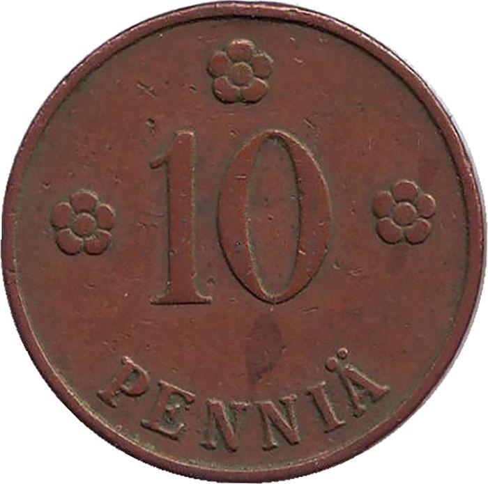 Монета номиналом 10 пенни. Финляндия, 1928