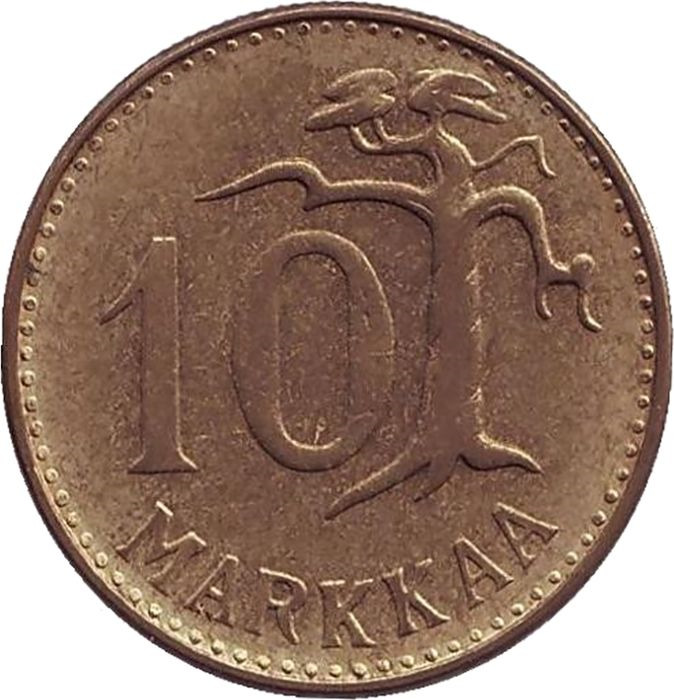 Монета номиналом 10 марок. Финляндия, 1961ИН-2920Аверс: герб страны, год. Реверс: Надпись 10 марок и дерево