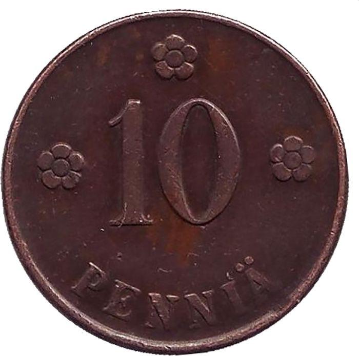 Монета номиналом 10 пенни. Финляндия, 1920