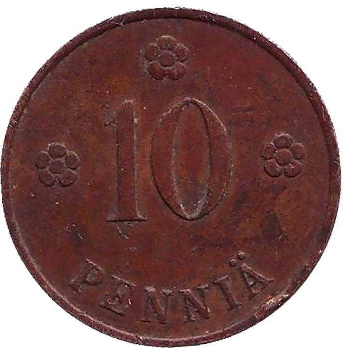 Монета номиналом 10 пенни. Финляндия, 1937 монета номиналом 10 марок финляндия 1952