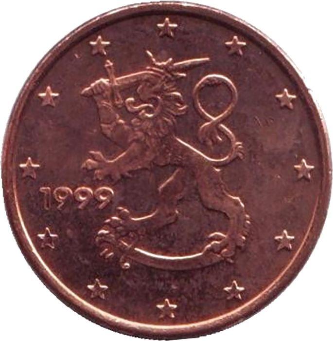 Монета номиналом 1 цент. Финляндия, 1999