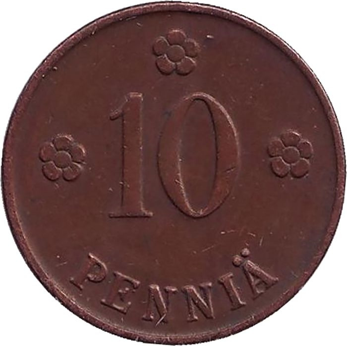 Монета номиналом 10 пенни. Финляндия, 1922