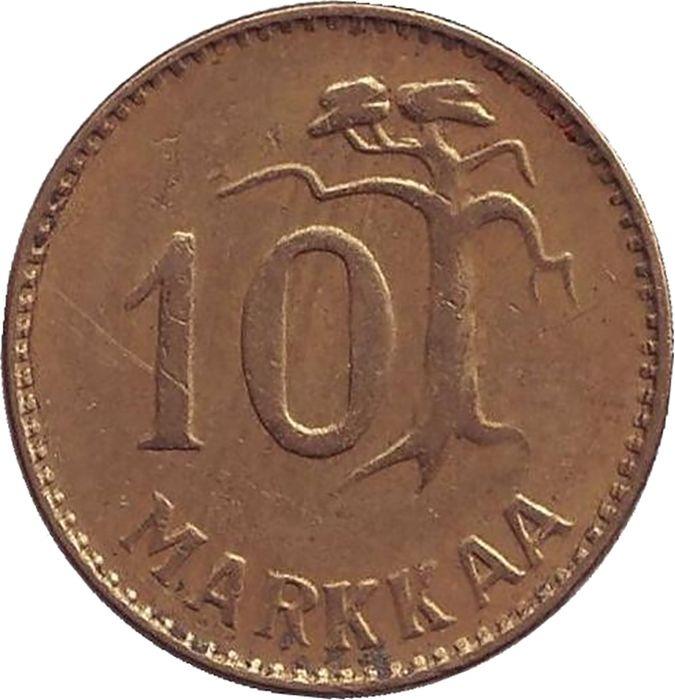Фото - Монета номиналом 10 марок. Финляндия, 1955 монета номиналом 10 марок финляндия 1932