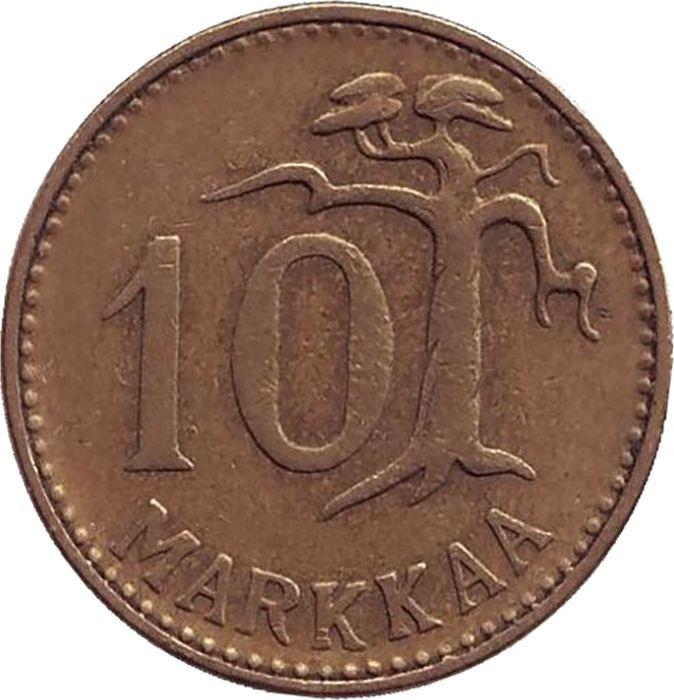 Монета номиналом 10 марок. Финляндия, 1962 монета номиналом 10 марок финляндия 1952