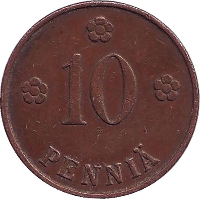 Фото - Монета номиналом 10 пенни. Финляндия, 1924 монета номиналом 10 марок финляндия 1932