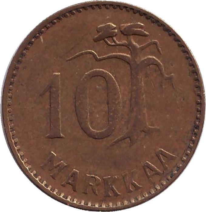 Монета номиналом 10 марок. Финляндия, 1952 монета номиналом 10 марок финляндия 1952
