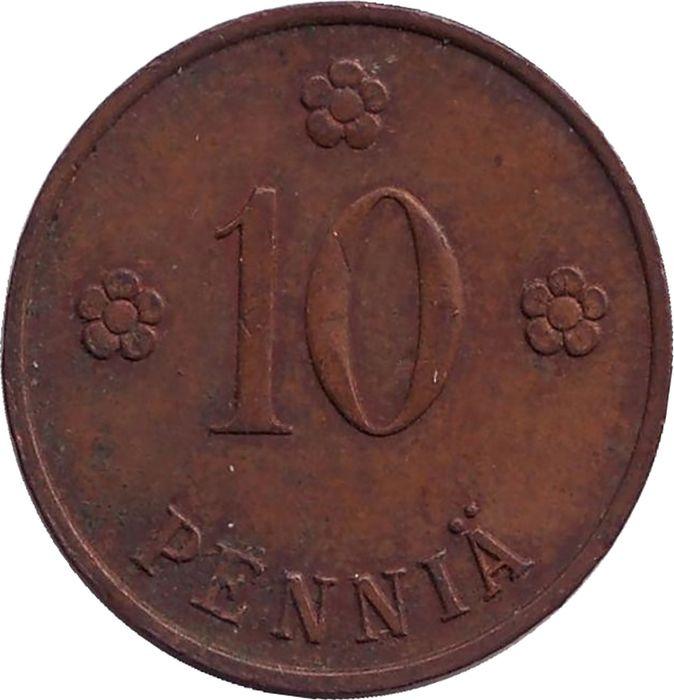 Монета номиналом 10 пенни. Финляндия, 1931