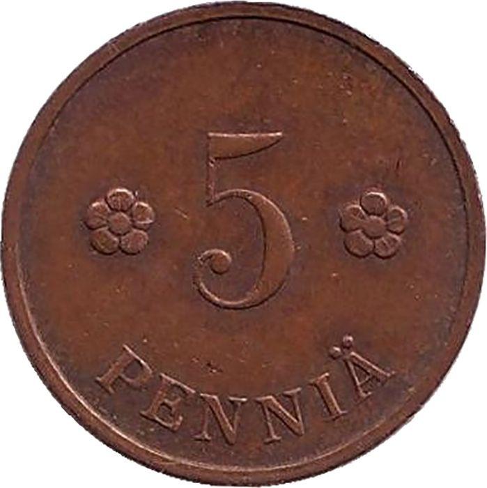 Монета номиналом 5 пенни. Финляндия, 1934 цена и фото