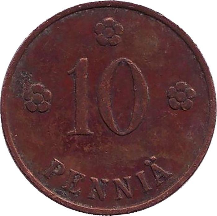 Монета номиналом 10 пенни. Финляндия, 1936 монета номиналом 10 марок финляндия 1952