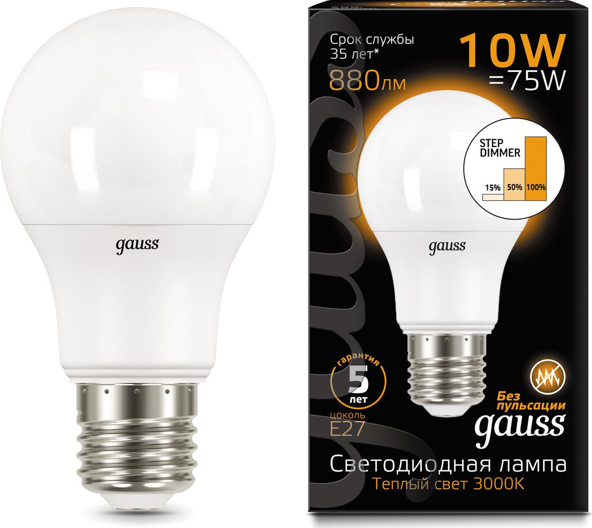 Лампочка Gauss Black LED, A60, E27, 10W. 102502110-S