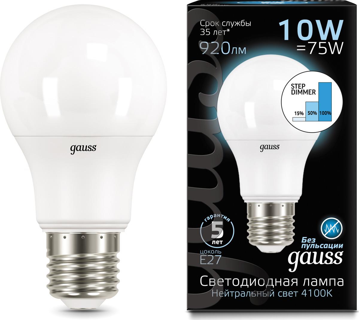 Лампочка Gauss Black LED, A60, E27, 10W. 102502210-S