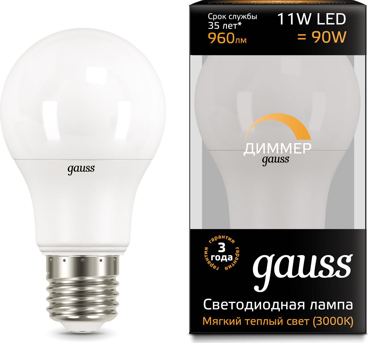 Лампочка Gauss Black LED, A60, E27, 11W. 102502111-D