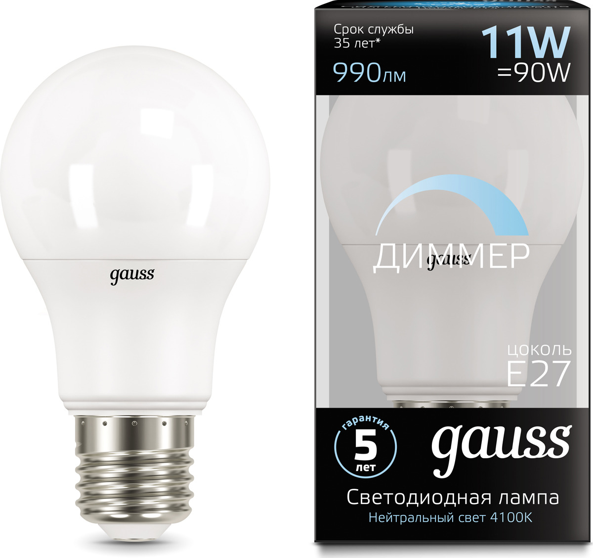 Лампочка Gauss Black LED, A60, E27, 11W. 102502211-D