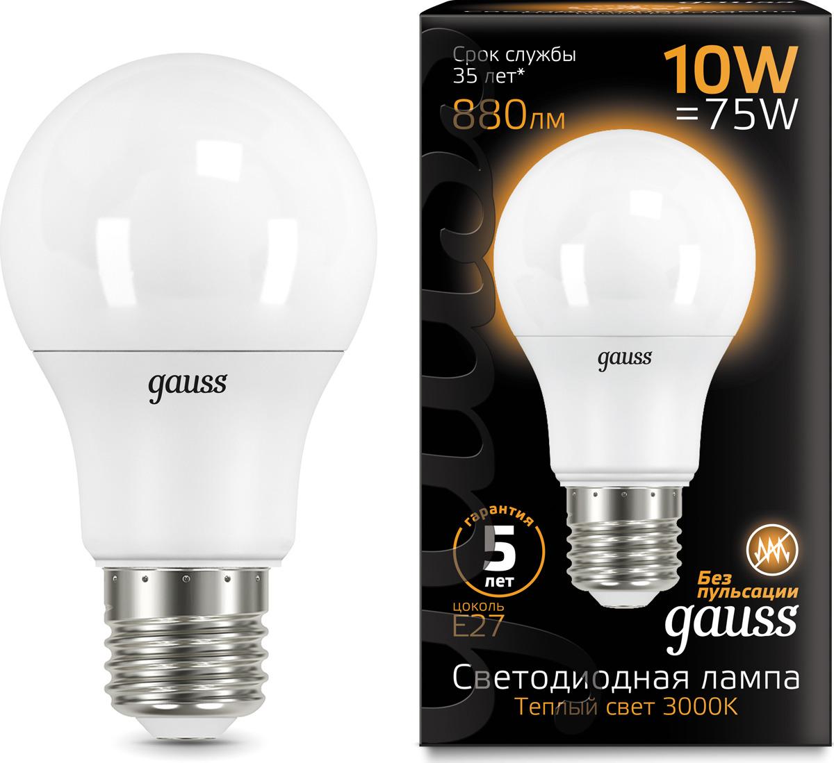 Лампочка Gauss Black LED, A60, E27, 10W. 102502110
