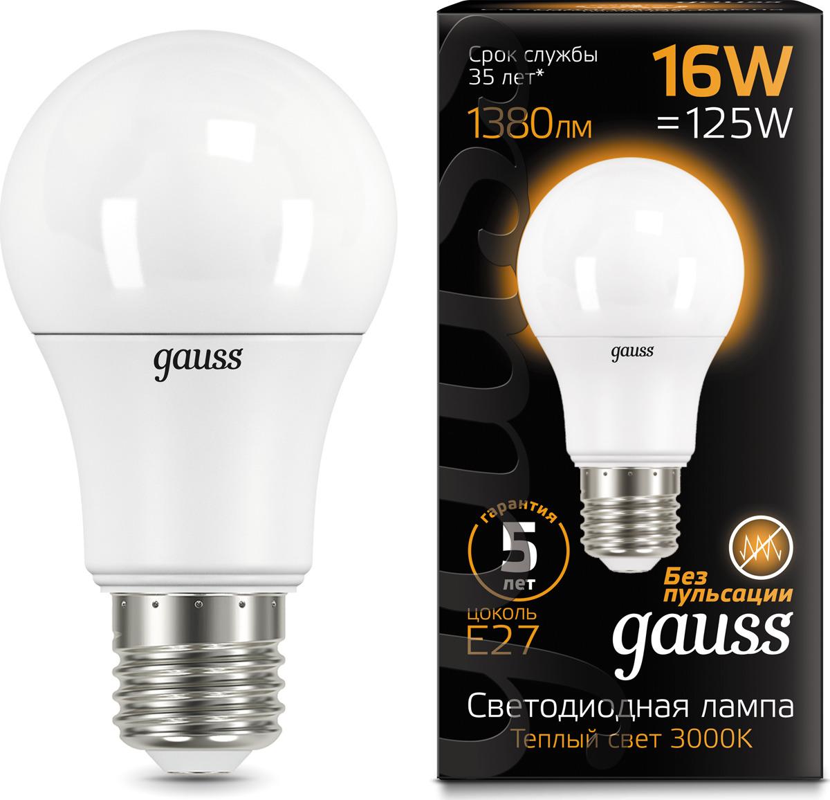 Лампочка Gauss Black LED, A60, E27, 16W. 102502116