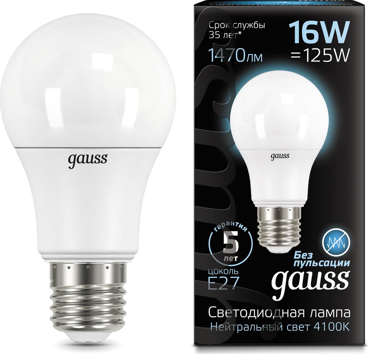 Лампочка Gauss Black LED, A60, E27, 16W. 102502216