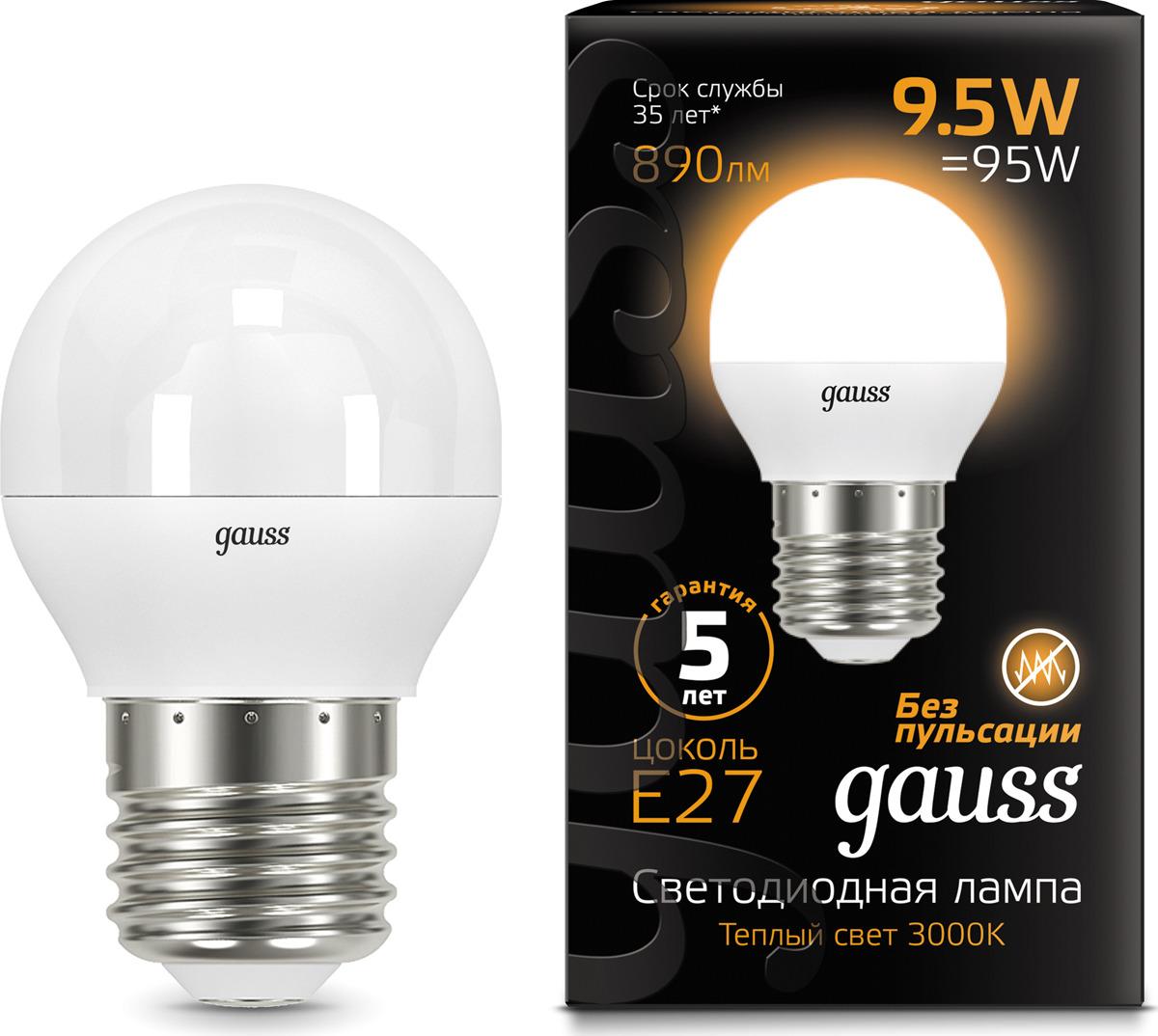 Лампочка Gauss Black LED, шар, E27, 9,5W. 105102110 лампочка gauss gs 105801205