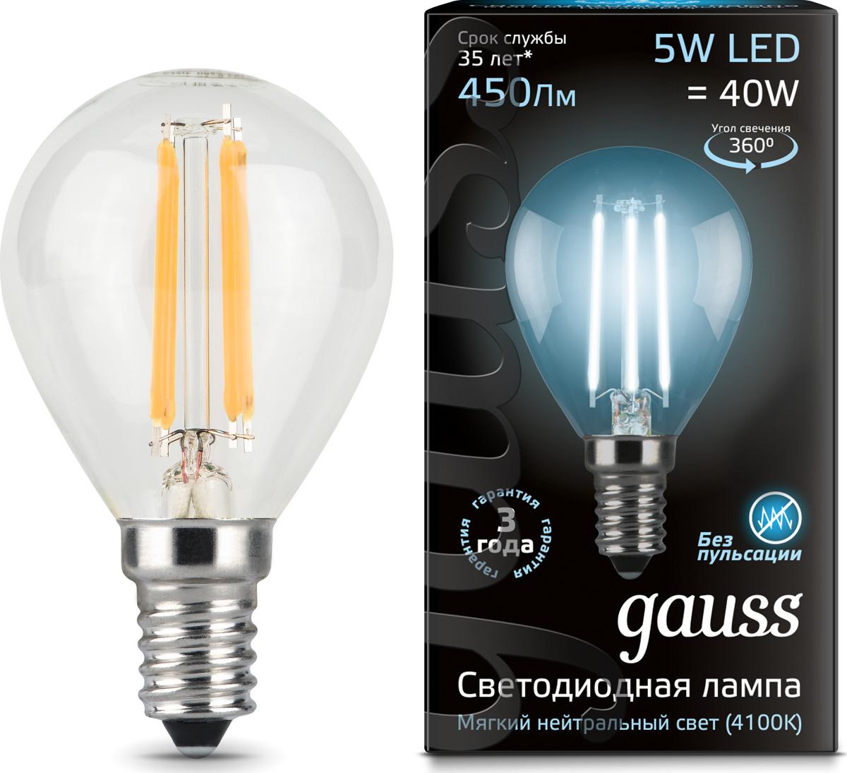 Лампочка Gauss Black Filament LED, шар, E14, 5W. 105801205 лампочка gauss gs 105801205