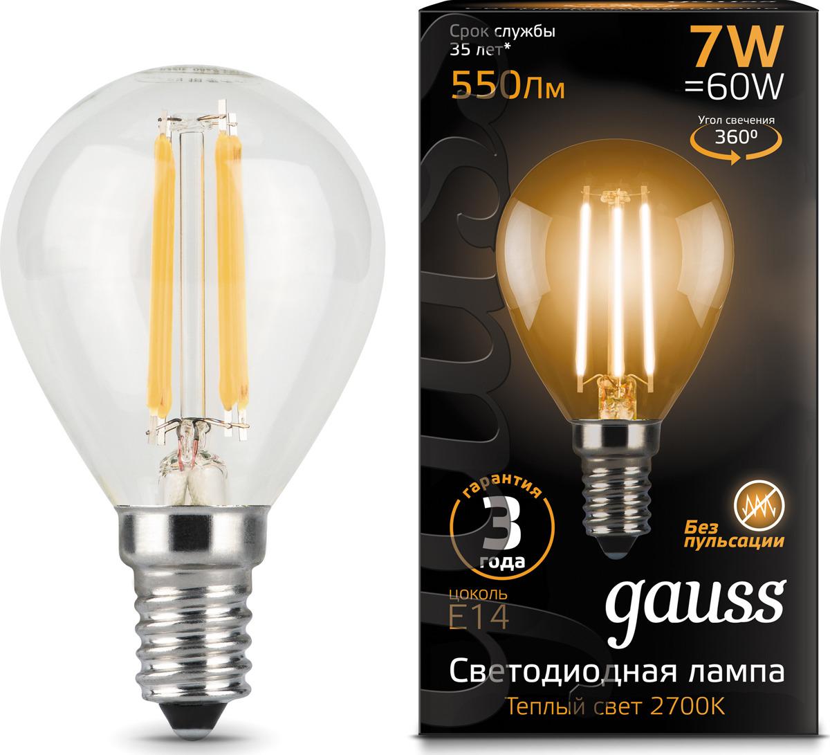 Лампочка Gauss Black Filament LED, шар, E14, 7W. 105801107 лампочка gauss gs 105801205