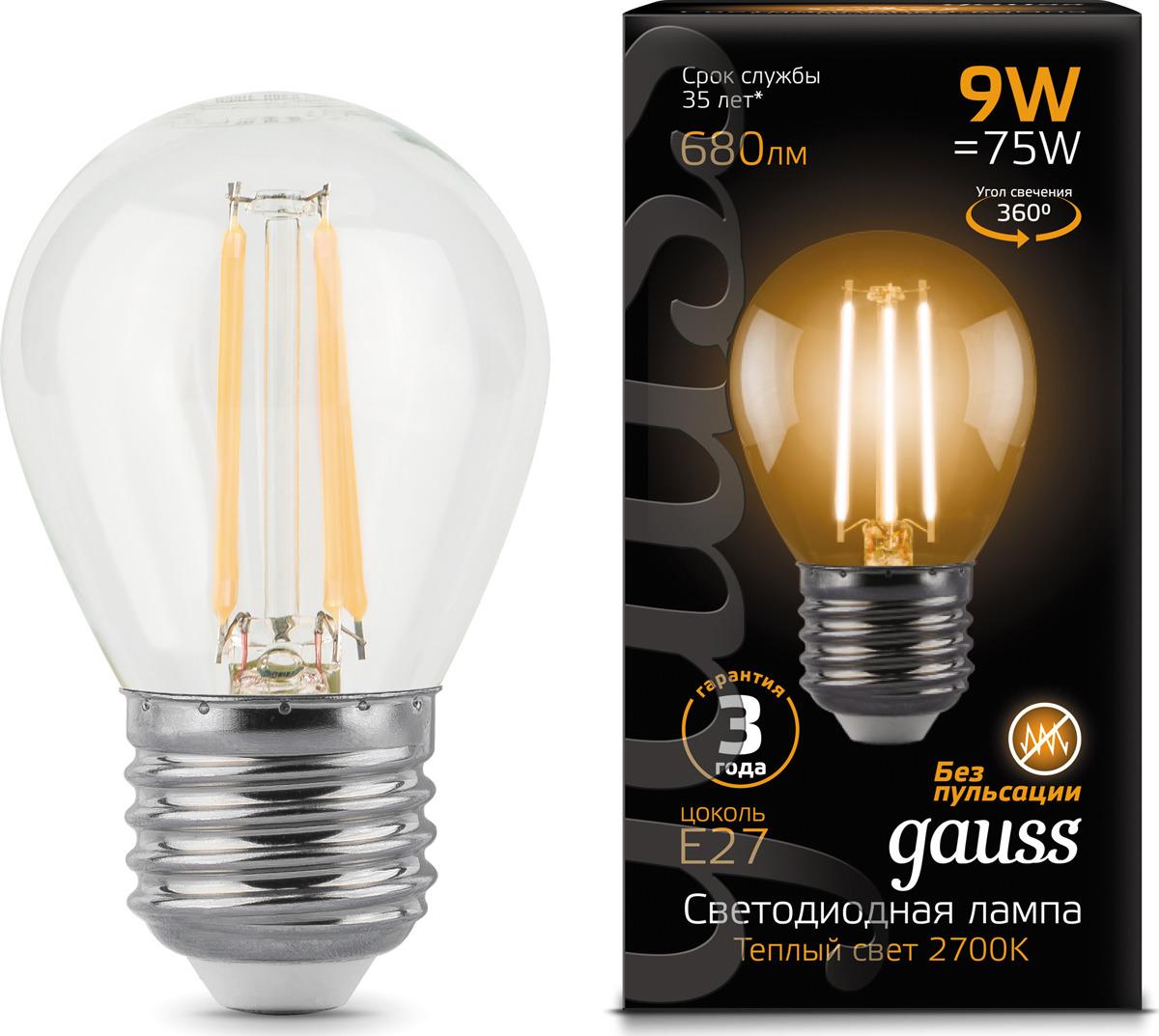 Лампочка Gauss Black Filament LED, шар, E27, 9W. 105802109 gauss лампа светодиодная gauss filament globe шар прозрачный e27 9w 2700k 105802109