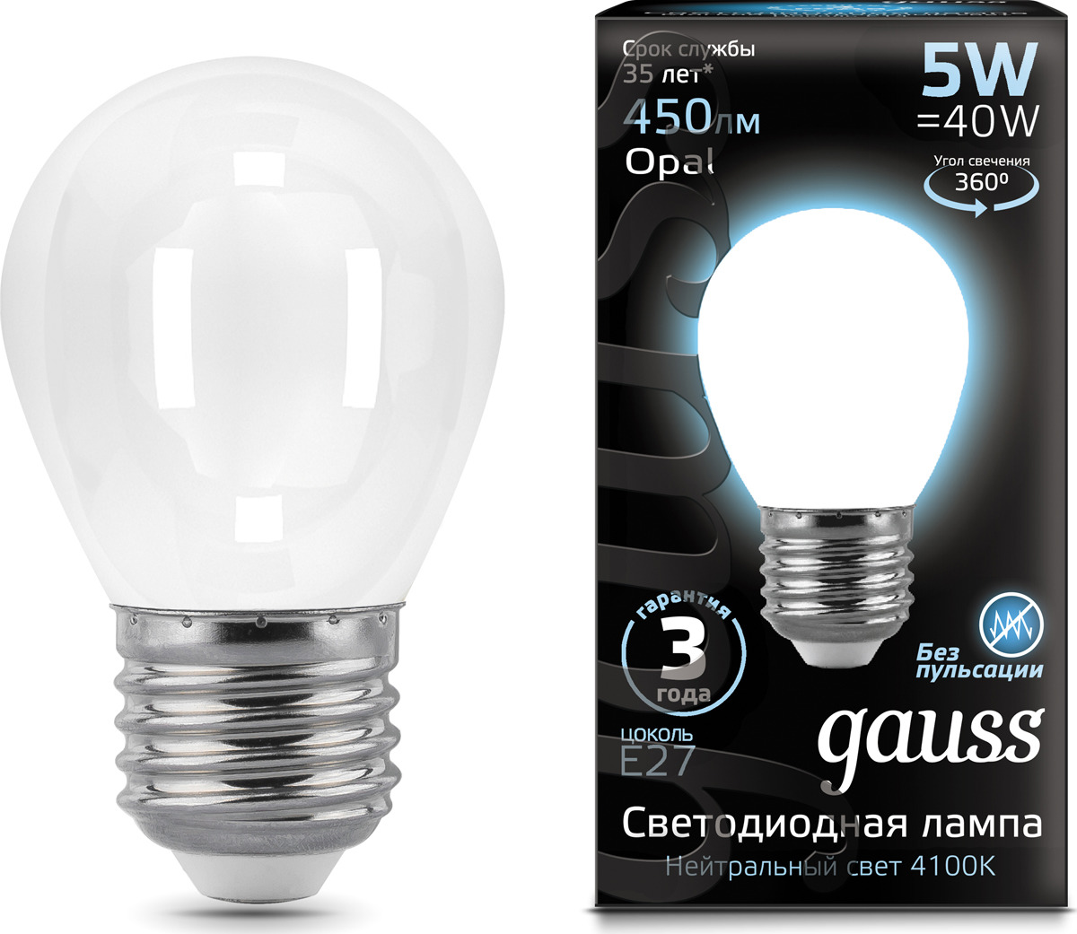 Лампочка Gauss Black Filament Opal LED, шар, E27, 5W.  105202205 Gauss