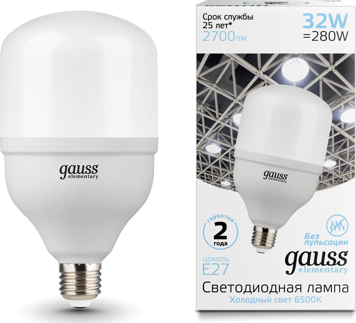 Лампочка Gauss Elementary LED, T100, E27, 32W, 63233
