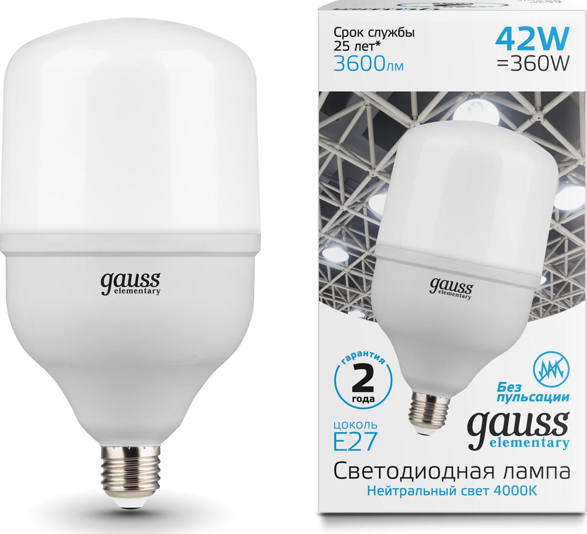 Лампочка Gauss Elementary LED, T120, E27, 42W. 63224